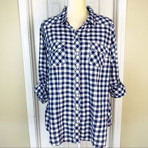 Torrid Navy Gingham Check Boyfriend Button Up Top